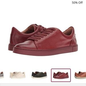NIB Frye Ivy Low Lace Red Clay Leather Sneakers